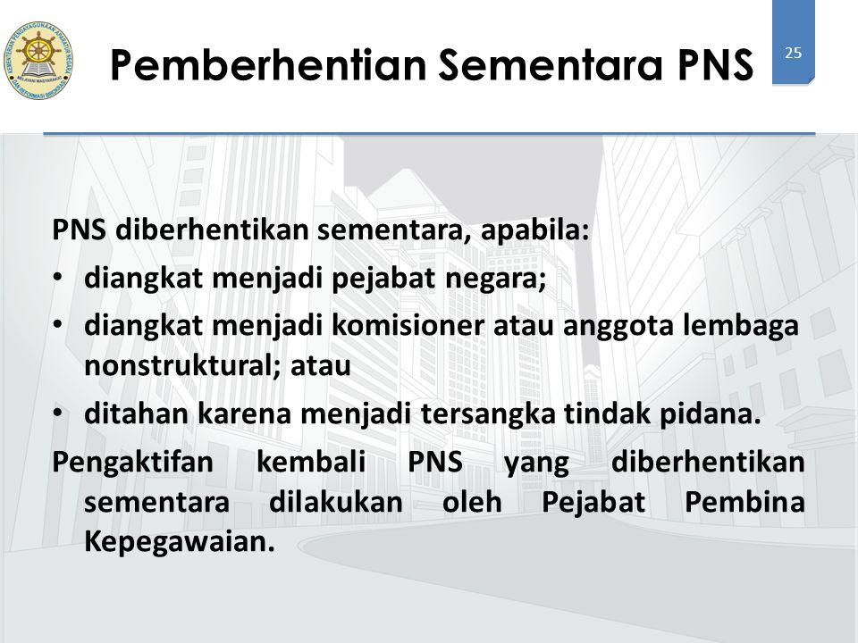 25 PNS diberhentikan sementara, apabila: diangkat menjadi pejabat negara; diangkat menjadi komisioner atau anggota lembaga nonstruktural; atau ditahan karena menjadi tersangka tindak pidana.