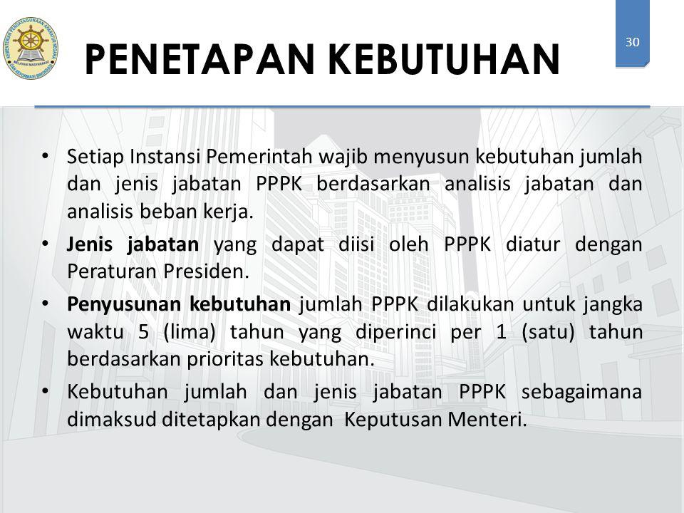 30 Setiap Instansi Pemerintah wajib menyusun kebutuhan jumlah dan jenis jabatan PPPK berdasarkan analisis jabatan dan analisis beban kerja. Jenis jaba