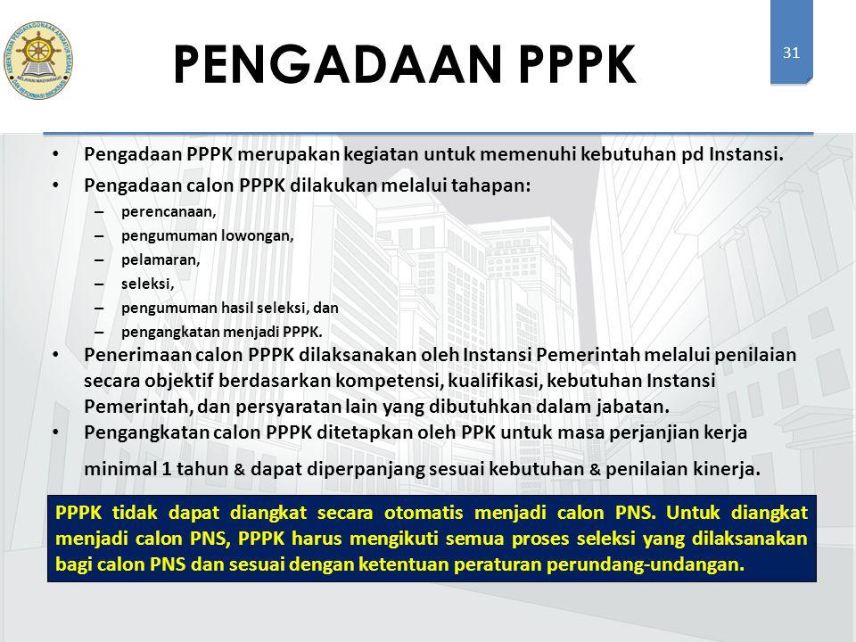 31 Pengadaan PPPK merupakan kegiatan untuk memenuhi kebutuhan pd Instansi. Pengadaan calon PPPK dilakukan melalui tahapan: – perencanaan, – pengumuman