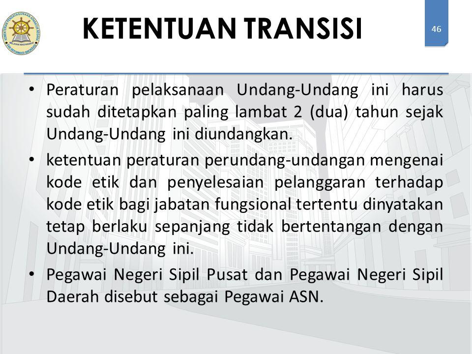 46 Peraturan pelaksanaan Undang-Undang ini harus sudah ditetapkan paling lambat 2 (dua) tahun sejak Undang-Undang ini diundangkan. ketentuan peraturan