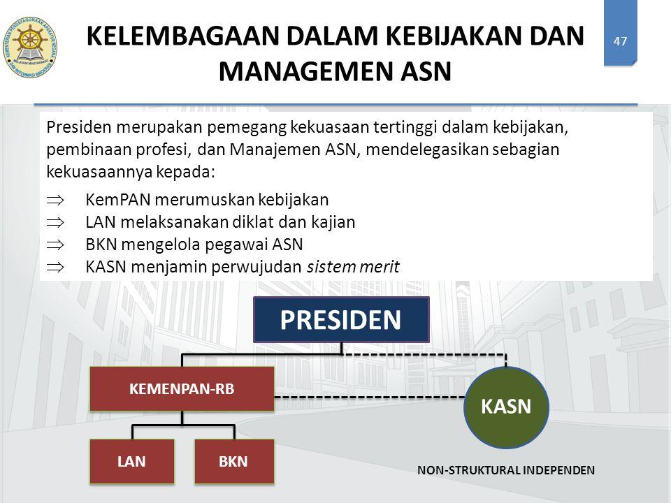 47 KELEMBAGAAN DALAM KEBIJAKAN DAN MANAGEMEN ASN PRESIDEN KEMENPAN-RB LAN BKN NON-STRUKTURAL INDEPENDEN KASN Presiden merupakan pemegang kekuasaan ter