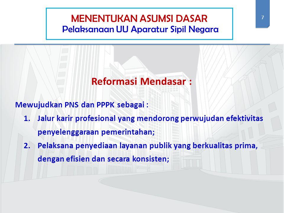 7 MENENTUKAN ASUMSI DASAR Pelaksanaan UU Aparatur Sipil Negara Reformasi Mendasar : Mewujudkan PNS dan PPPK sebagai : 1.Jalur karir profesional yang m