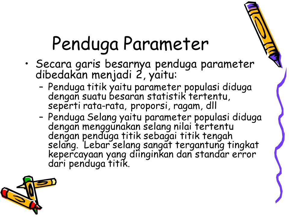 Penduga Parameter Secara garis besarnya penduga parameter dibedakan menjadi 2, yaitu: –Penduga titik yaitu parameter populasi diduga dengan suatu besa