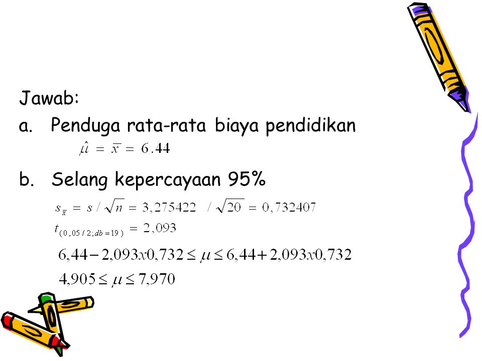 Pendugaa Parameter: Kasus Dua Sampel Saling Bebas Penduga Beda Rata-rata Populasi (µ 1 -µ 2 ) Penduga titik: Dengan standard error: a.