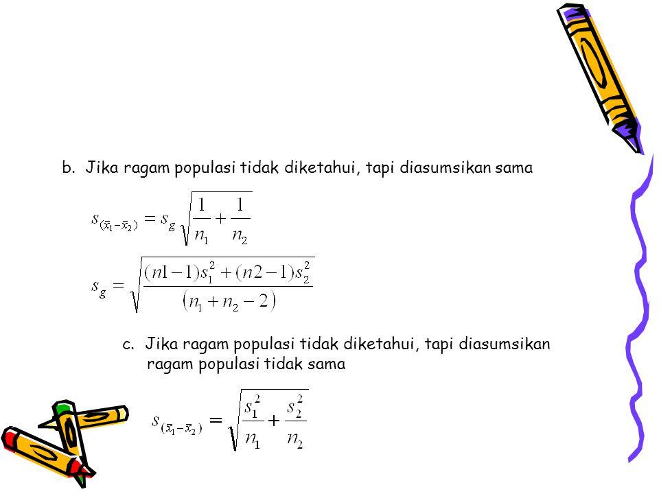 b. Jika ragam populasi tidak diketahui, tapi diasumsikan sama c. Jika ragam populasi tidak diketahui, tapi diasumsikan ragam populasi tidak sama