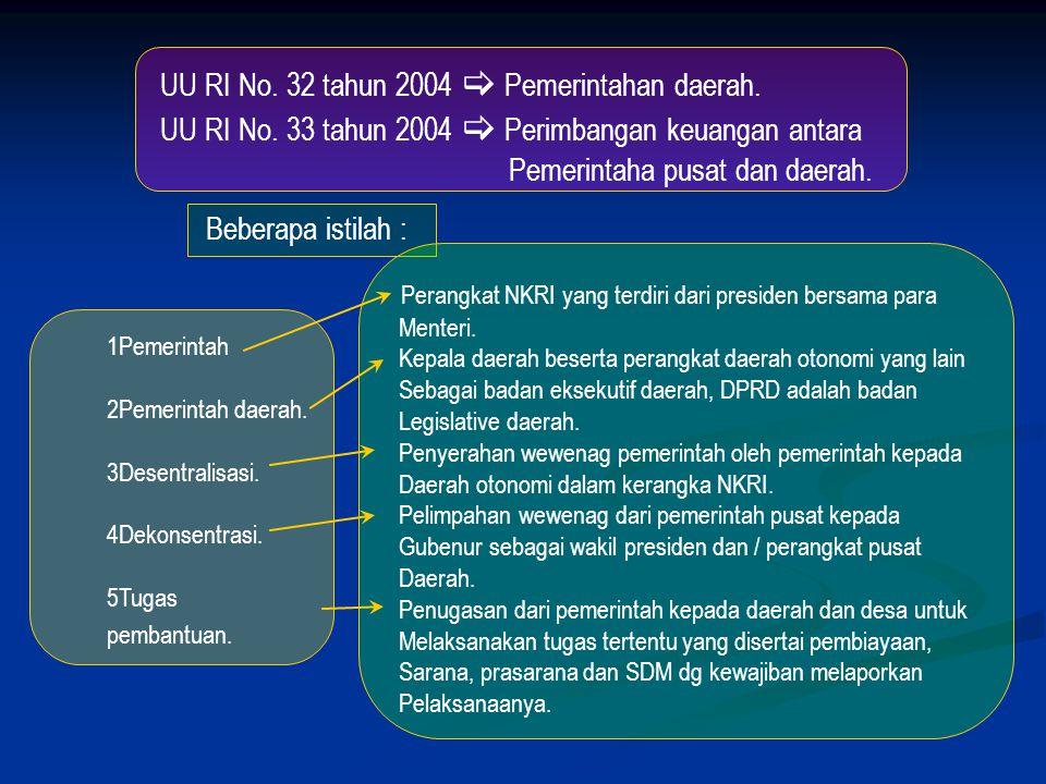 UU RI No.32 tahun 2004  Pemerintahan daerah. UU RI No.