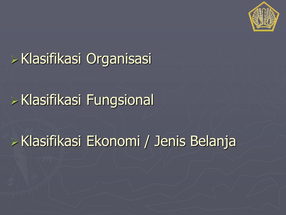  Klasifikasi Organisasi  Klasifikasi Fungsional  Klasifikasi Ekonomi / Jenis Belanja