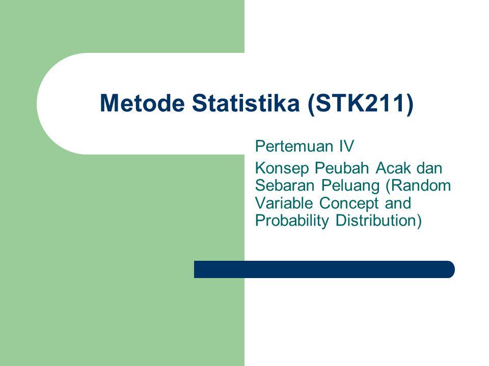 Metode Statistika (STK211) Pertemuan IV Konsep Peubah Acak dan Sebaran Peluang (Random Variable Concept and Probability Distribution)