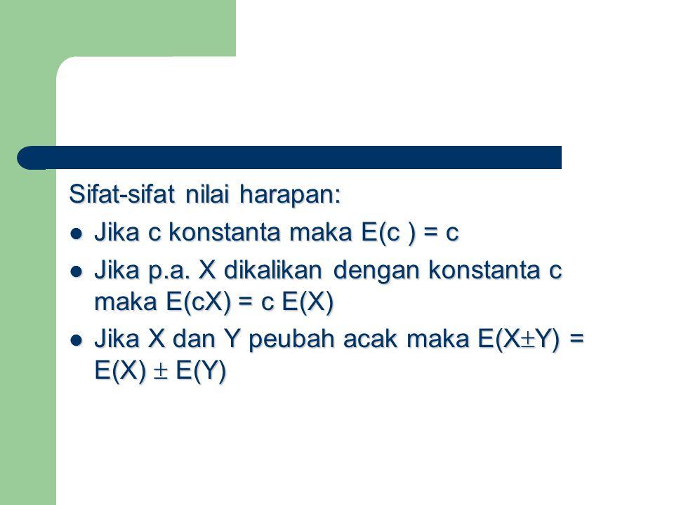 Sifat-sifat nilai harapan: Jika c konstanta maka E(c ) = c Jika c konstanta maka E(c ) = c Jika p.a. X dikalikan dengan konstanta c maka E(cX) = c E(X