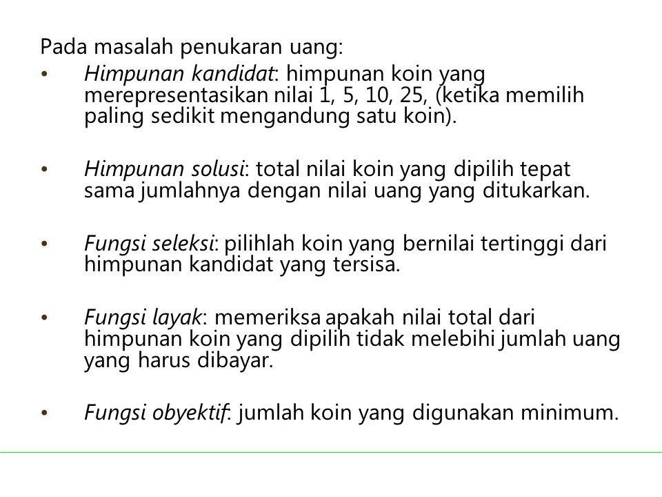 Pada masalah penukaran uang: Himpunan kandidat: himpunan koin yang merepresentasikan nilai 1, 5, 10, 25, (ketika memilih paling sedikit mengandung sat