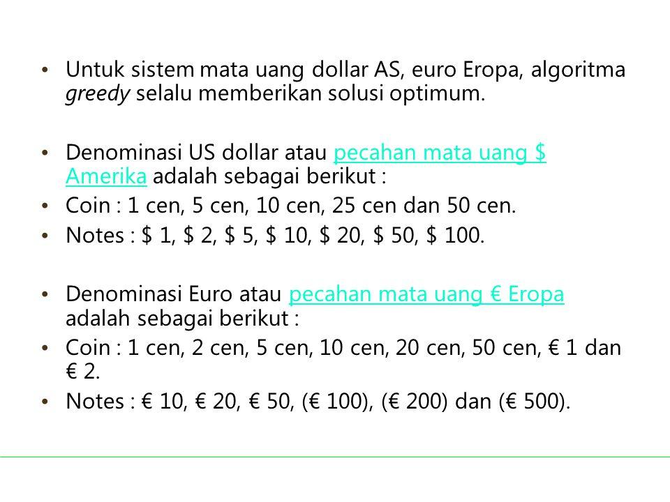 Untuk sistem mata uang dollar AS, euro Eropa, algoritma greedy selalu memberikan solusi optimum. Denominasi US dollar atau pecahan mata uang $ Amerika