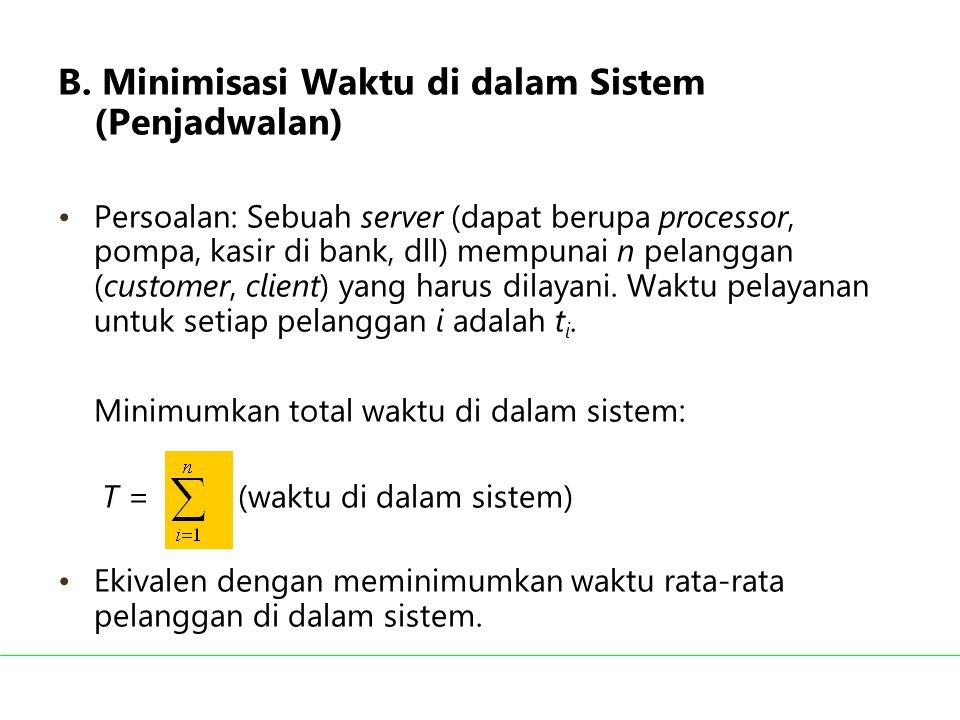 B. Minimisasi Waktu di dalam Sistem (Penjadwalan) Persoalan: Sebuah server (dapat berupa processor, pompa, kasir di bank, dll) mempunai n pelanggan (c