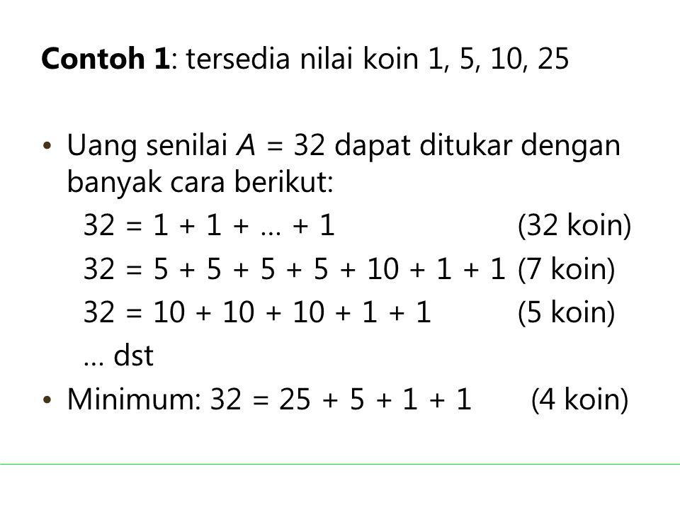Contoh 1: tersedia nilai koin 1, 5, 10, 25 Uang senilai A = 32 dapat ditukar dengan banyak cara berikut: 32 = 1 + 1 + … + 1 (32 koin) 32 = 5 + 5 + 5 +