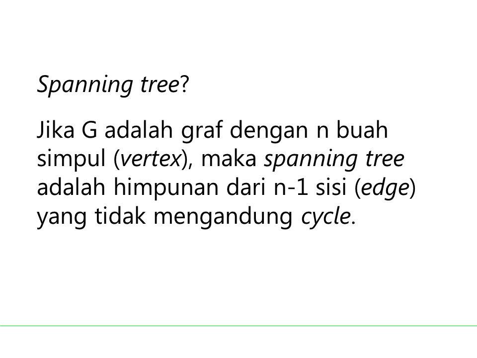 Spanning tree? Jika G adalah graf dengan n buah simpul (vertex), maka spanning tree adalah himpunan dari n-1 sisi (edge) yang tidak mengandung cycle.