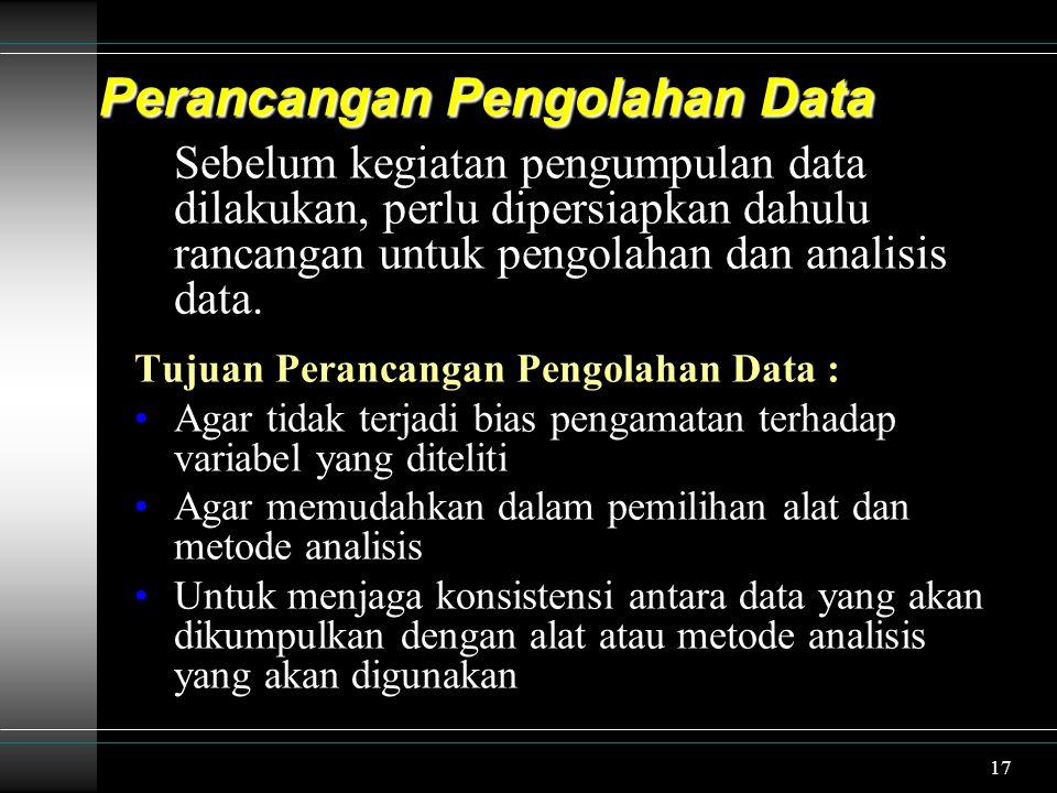 18 Faktor Pemilihan Rancangan Pengolahan Data : Tujuan dan jenis penelitian Model/ jenis data Taraf/ tingkat kesimpulan Metode Pengumpulan Data Kualitas data tidak hanya ditentukan oleh reliabilitas dan validitas dari alat ukurnya saja, tetapi juga ditentukan oleh bagaimana cara pengumpulannya