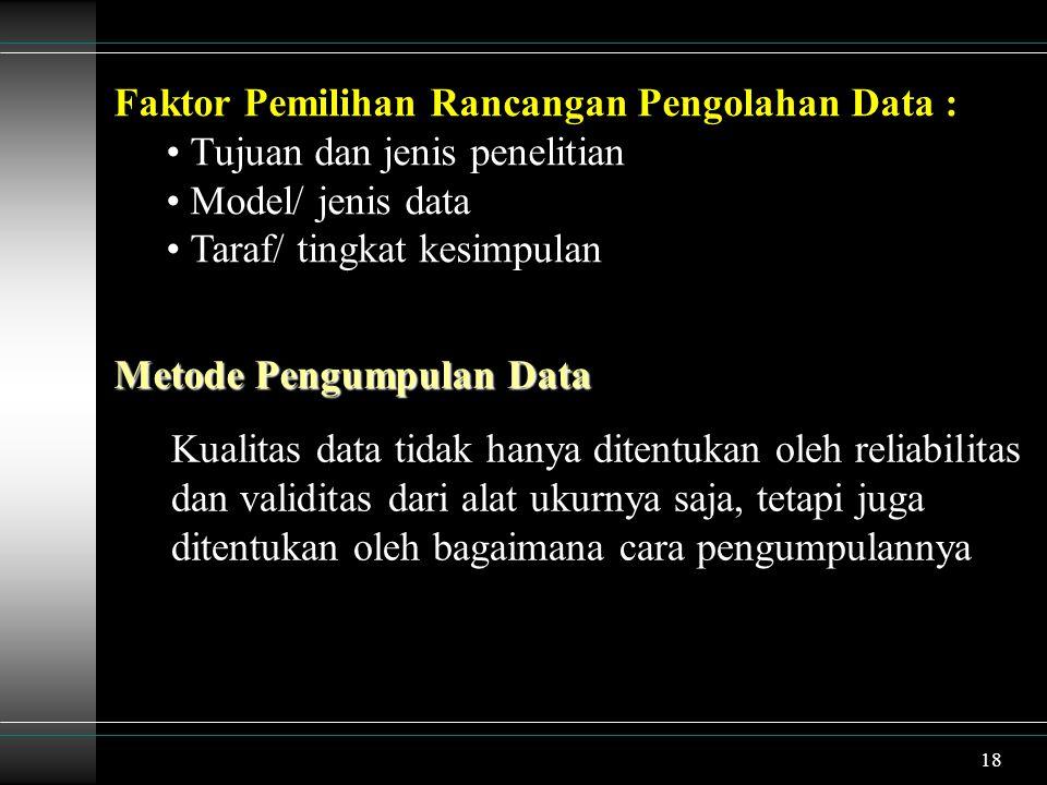 19 Beberapa Aspek dalam Proses Pengumpulan Data : Data apa yang dikumpulkan (What) Dengan apa data itu dikumpulkan (With) Darimana data akan dikumpulkan (Where) Kapan data tersebut dikumpulkan (When) Bagaimana cara mengumpulkan (How) Metode Pengumpulan Data : Observasi (Pengamatan Langsung) Survei Interview (Wawancara) Eksperimen (Percobaan/ Pengukuran Langsung)