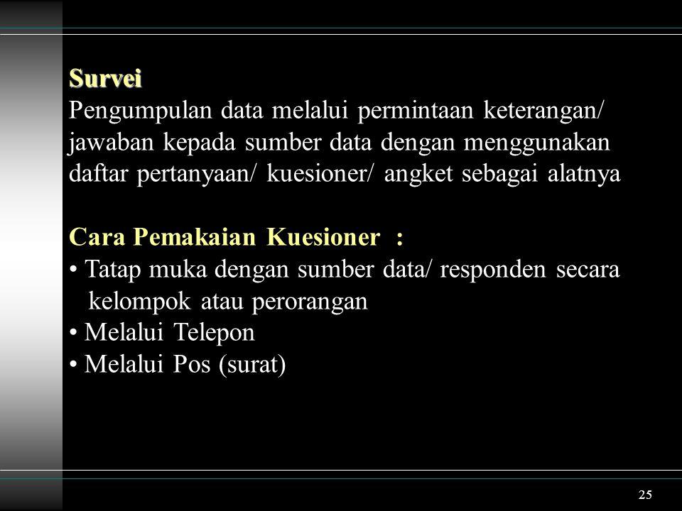 26 Sifat : Terdapat interaksi antara objek yang diamati dengan pengamat/ pengumpul data Contoh : Survei mengenai merk komputer yang paling diminati kalangan dosen di IPB Survei mengenai sistem pengelolaan persediaan barang di Apotik Sumber Sehat Bogor