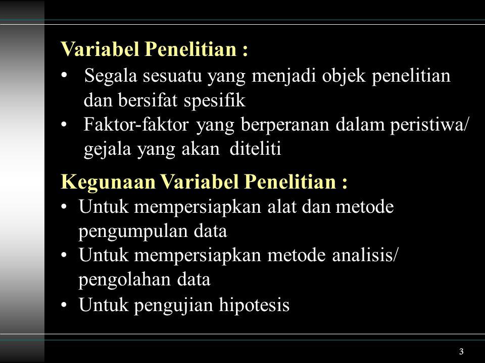 4 Variabel Penelitian Yang Baik : Relevan dengan tujuan penelitian Dapat diamati dan diukur Variable perlu : diidentifikasi, diklasifikasi didefinisikan secara operasional dengan jelas dan tegas agar tidak menimbulkan kesalahan dalam pengumpulan dan pengolahan data serta dalam pengujian hipotesis