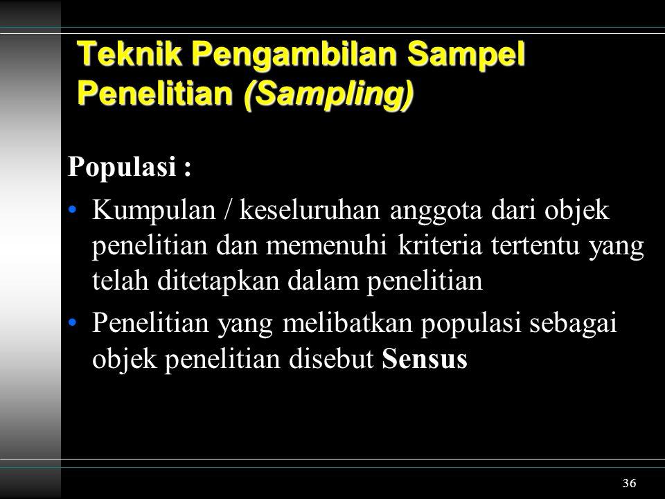 37 Sampel : Bagian tertentu dari unit populasi Penelitian yang melibatkan sampel sebagai objek penelitian disebut Sampling Populasi Sampel