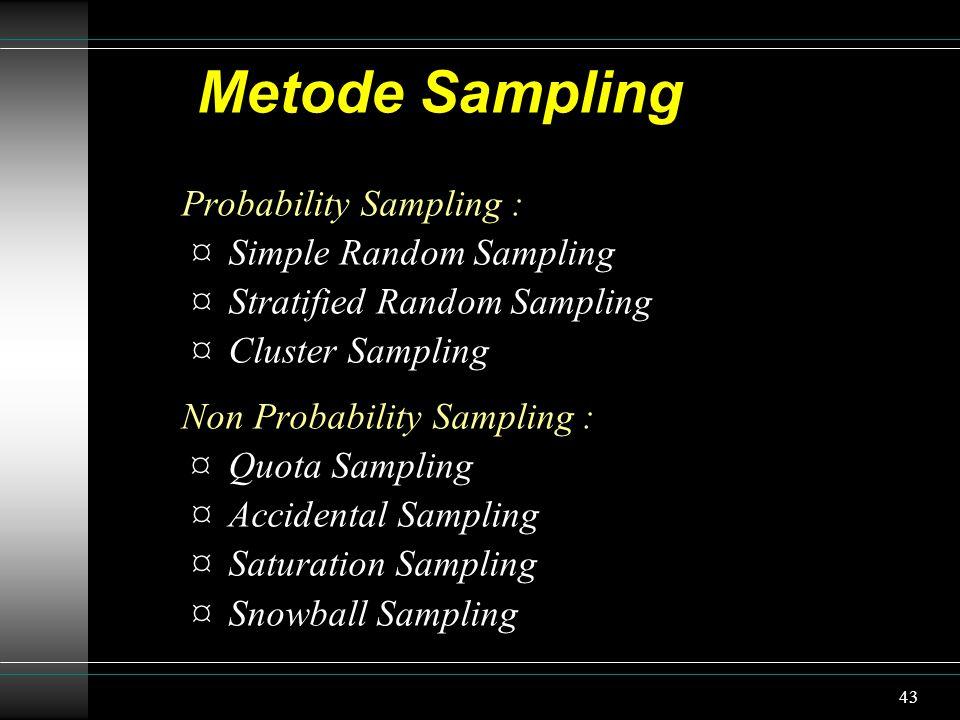 44 Simple Random Sampling Semua unsur dari populasi mempunyai kesempatan yang sama untuk dipilih sebagai anggota sampel.