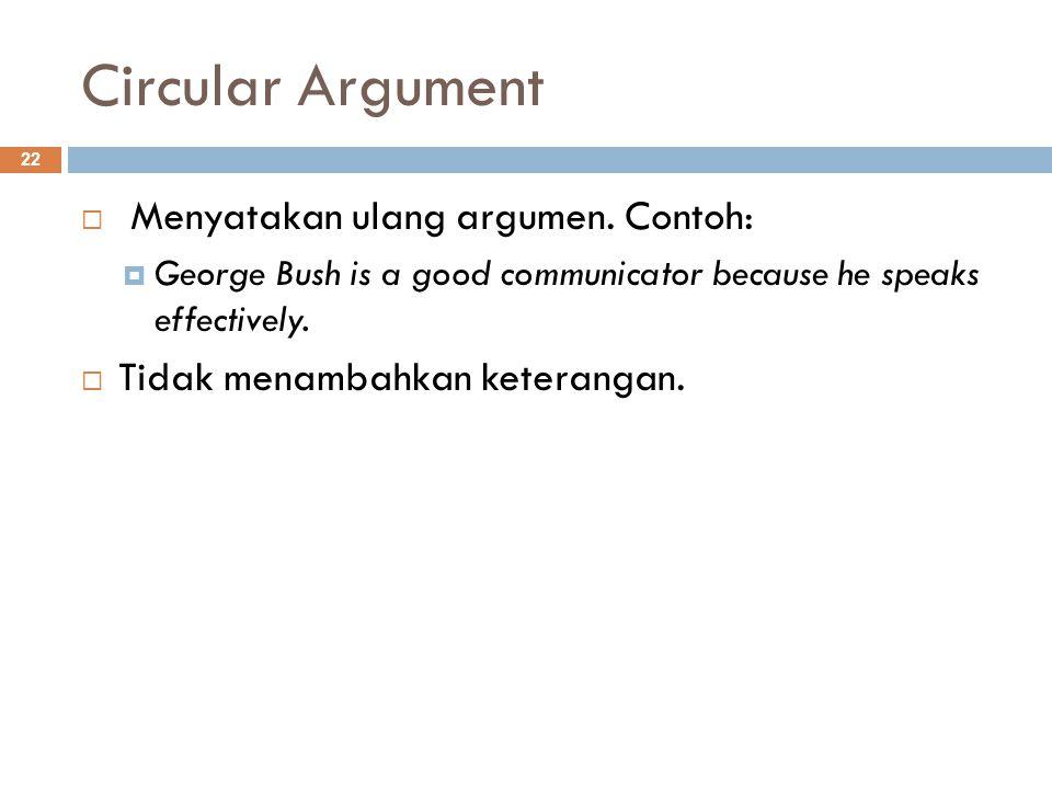 Circular Argument 22  Menyatakan ulang argumen.