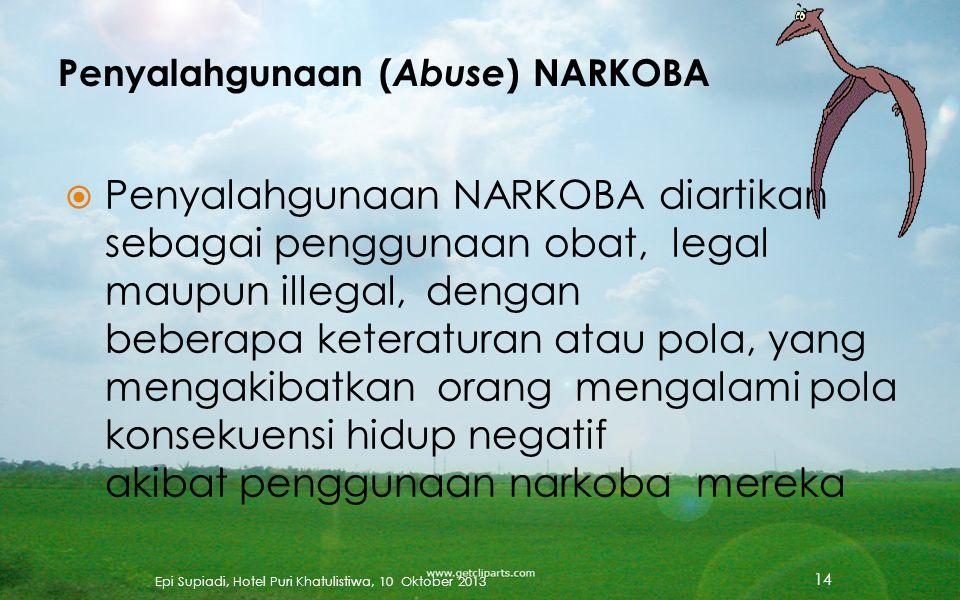  Penggunaan NARKOBA adalah konsumsi zat (alkohol atau obat, legal maupun illegal) dengan keteraturan (sekali atau berulang kali selama seumur hidup)