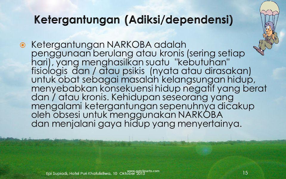  Penyalahgunaan NARKOBA diartikan sebagai penggunaan obat, legal maupun illegal, dengan beberapa keteraturan atau pola, yang mengakibatkan orang meng