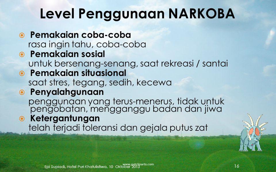 Ketergantungan NARKOBA adalah penggunaan berulang atau kronis (sering setiap hari), yang menghasilkan suatu