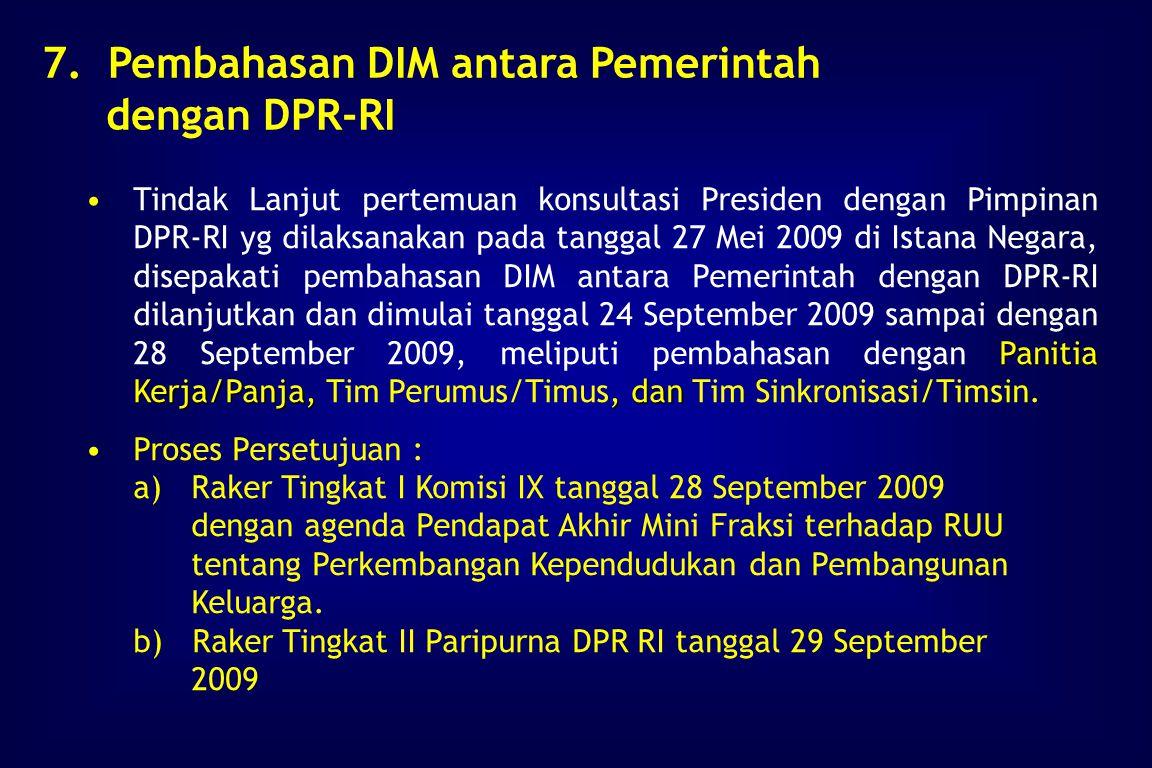 Tanggal 29 April 2009 pertemuan Interdep di Kantor Setneg mempersiapkan bahan untuk pertemuan konsultasi pimpinan DPR-RI dengan Presiden, sbg tindak l