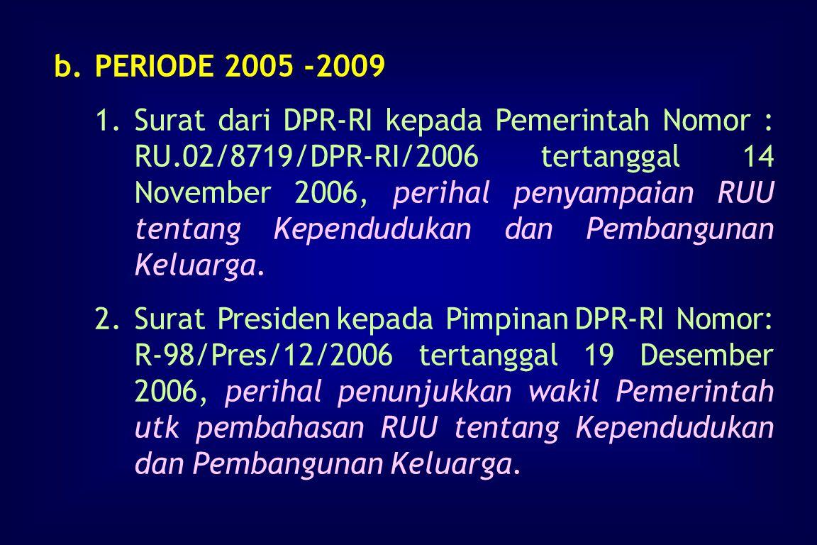 3.Proses a.Amandemen UU No. 10 Tahun 1992 inisiatif DPR-RI 1)Surat Mendagri kepada Presiden Nomor : 470/1970/Sj tertanggal 6 Agustus 2004, perihal per