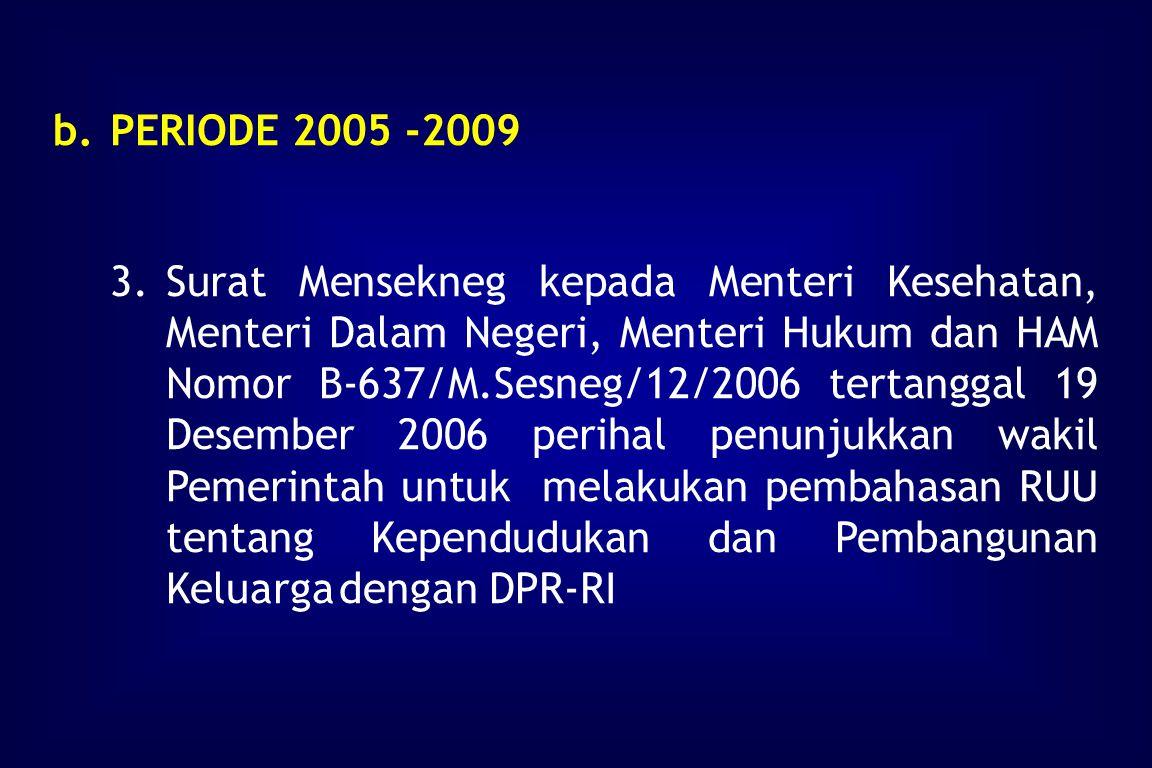 b.PERIODE 2005 -2009 1.Surat dari DPR-RI kepada Pemerintah Nomor : RU.02/8719/DPR-RI/2006 tertanggal 14 November 2006, perihal penyampaian RUU tentang