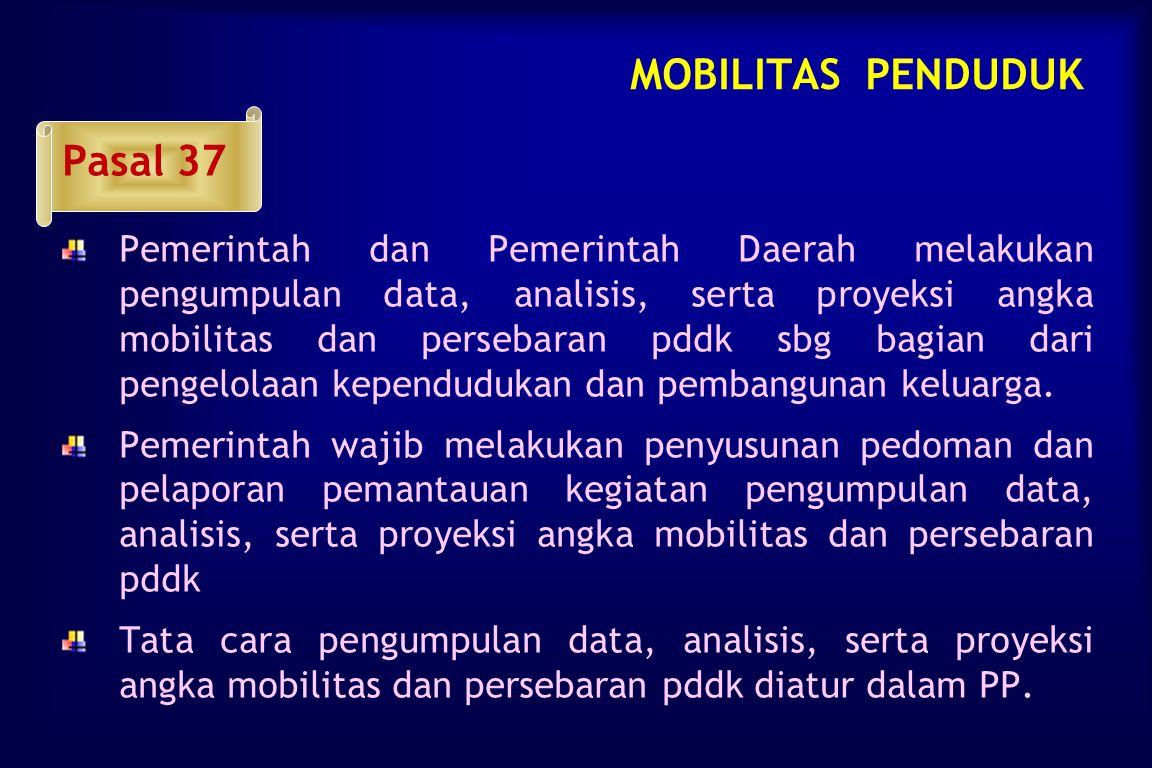 MOBILITAS PENDUDUK Pasal 36   Perencanaan pengarahan mobduk dan/atau penyebaran pddk dilakukan dgn menggunakan data dan informasi, persebaran pddk d