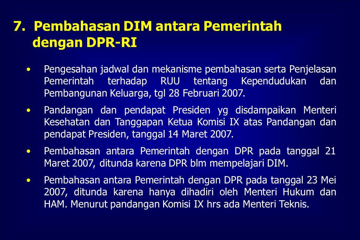 Tanggal 20 Maret 2007 Pemerintah melalui Departemen Kesehatan menyampaikan DIM kepada Komosi IX DPR-RI 6.Waktu Penyusunan dan Pembahasan DIM Interdep