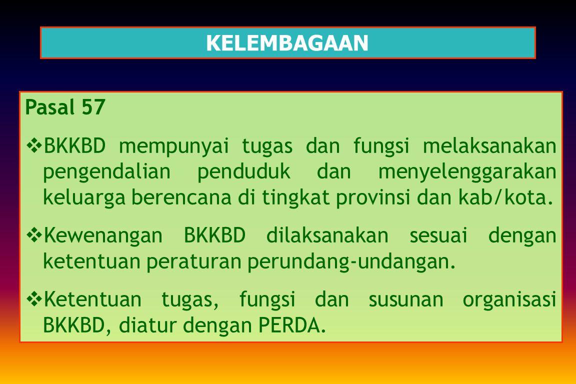 KELEMBAGAAN Pasal 56 TUGAS DAN FUNGSI  BKKBN bertugas melaksanakan pengendalian penduduk dan menyelenggarakan keluarga berencana.  Dalam melaksanaka