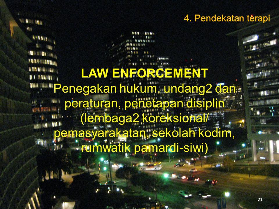 LAW ENFORCEMENT Penegakan hukum, undang2 dan peraturan, penetapan disiplin (lembaga2 koreksional/ pemasyarakatan, sekolah kodim, rumwatik pamardi-siwi