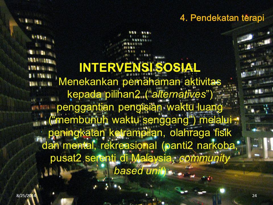 """INTERVENSI SOSIAL Menekankan pemahaman aktivitas kepada pilihan2 (""""alternatives"""") penggantian pengisian waktu luang (""""membunuh waktu senggang"""") melalu"""