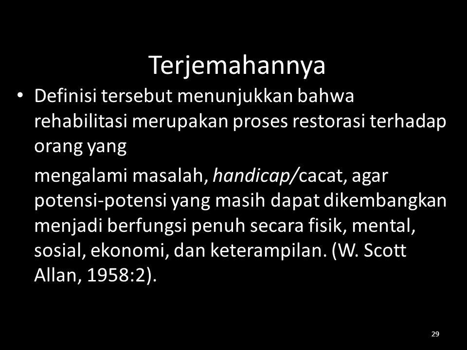 29 Terjemahannya Definisi tersebut menunjukkan bahwa rehabilitasi merupakan proses restorasi terhadap orang yang mengalami masalah, handicap/cacat, ag