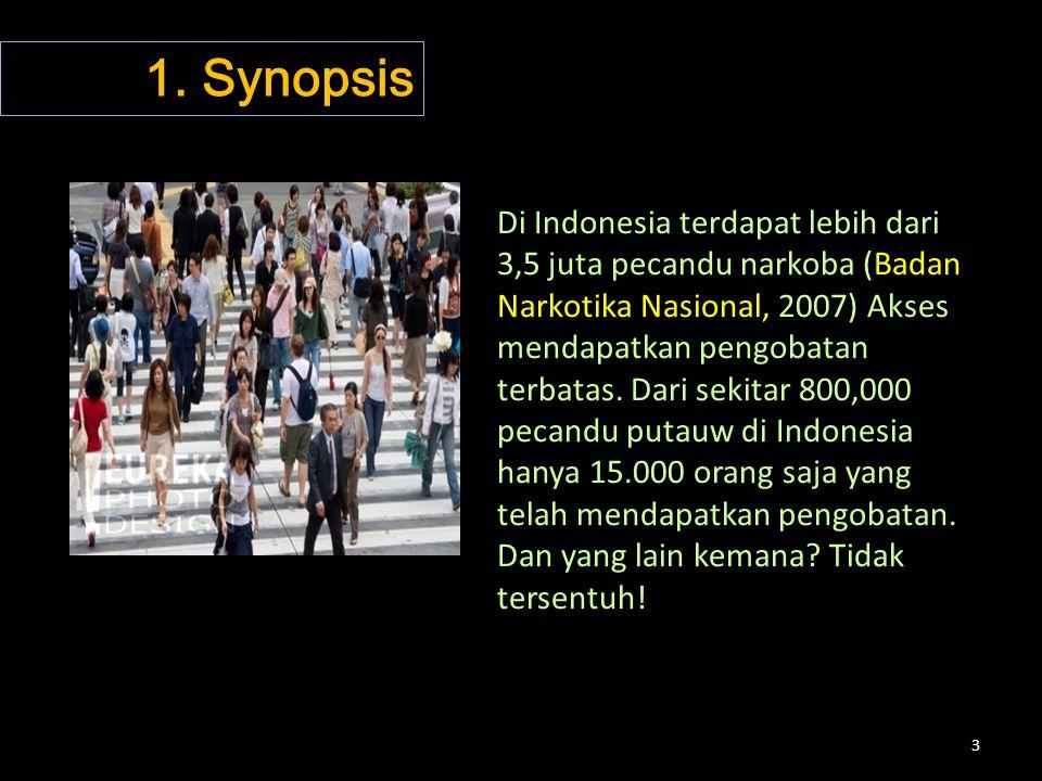 3 Di Indonesia terdapat lebih dari 3,5 juta pecandu narkoba (Badan Narkotika Nasional, 2007) Akses mendapatkan pengobatan terbatas. Dari sekitar 800,0