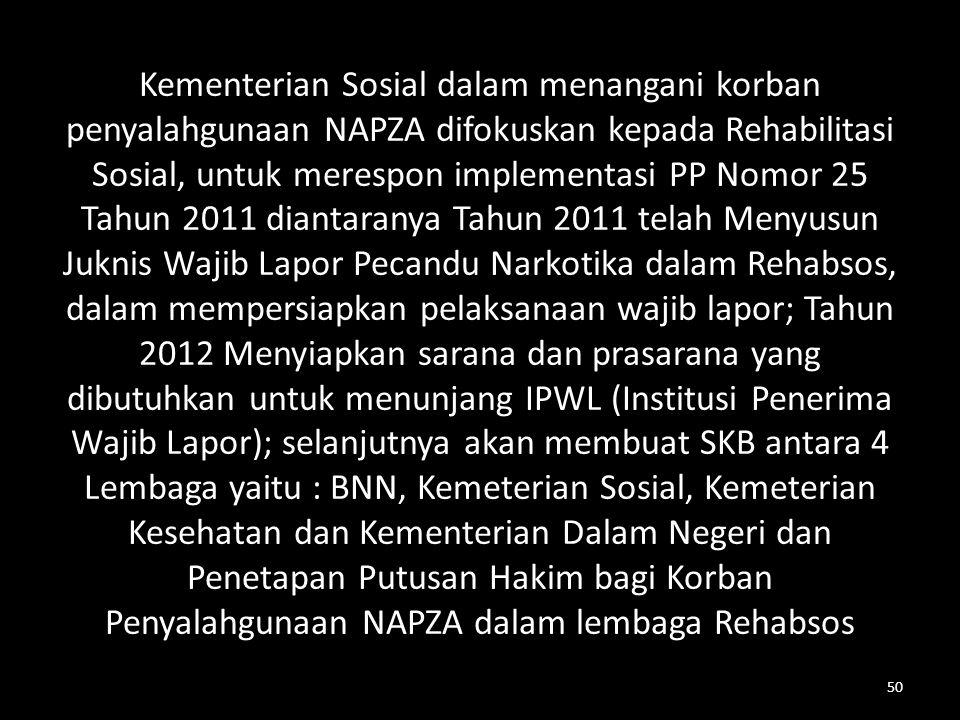 Kementerian Sosial dalam menangani korban penyalahgunaan NAPZA difokuskan kepada Rehabilitasi Sosial, untuk merespon implementasi PP Nomor 25 Tahun 20