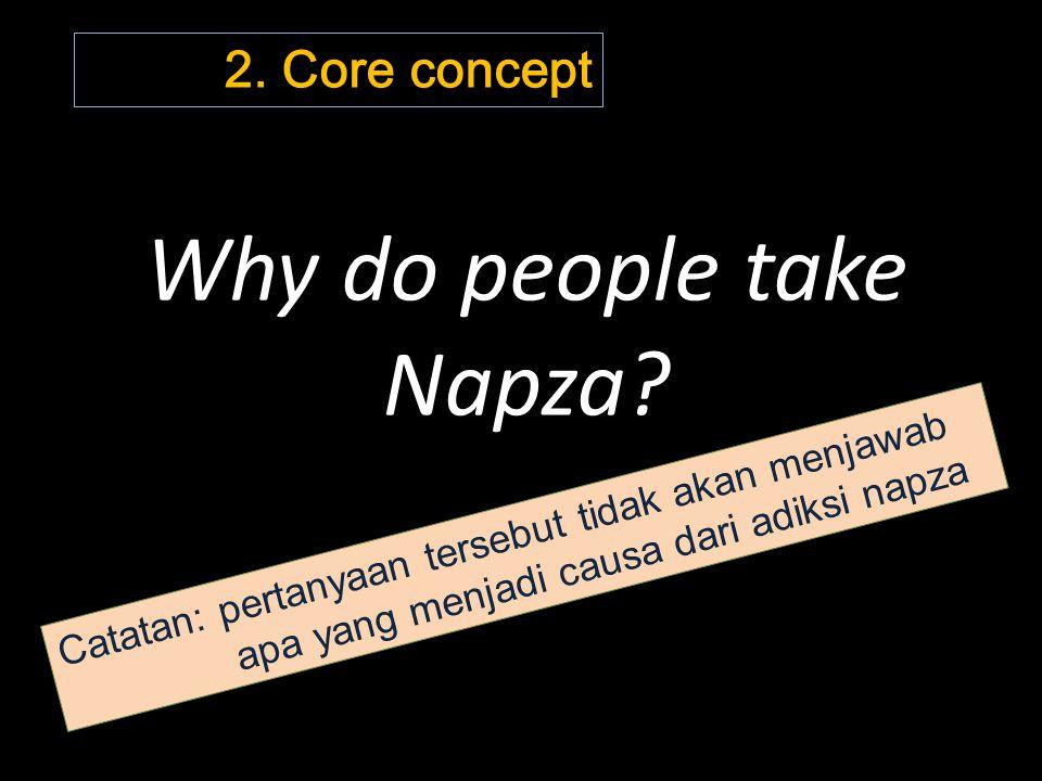 Why do people take Napza? Catatan: pertanyaan tersebut tidak akan menjawab apa yang menjadi causa dari adiksi napza 2. Core concept