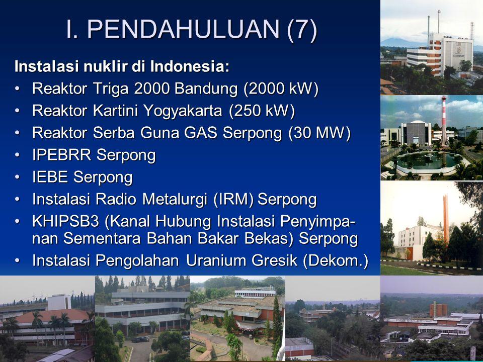 I. PENDAHULUAN (7) Instalasi nuklir di Indonesia: Reaktor Triga 2000 Bandung (2000 kW)Reaktor Triga 2000 Bandung (2000 kW) Reaktor Kartini Yogyakar