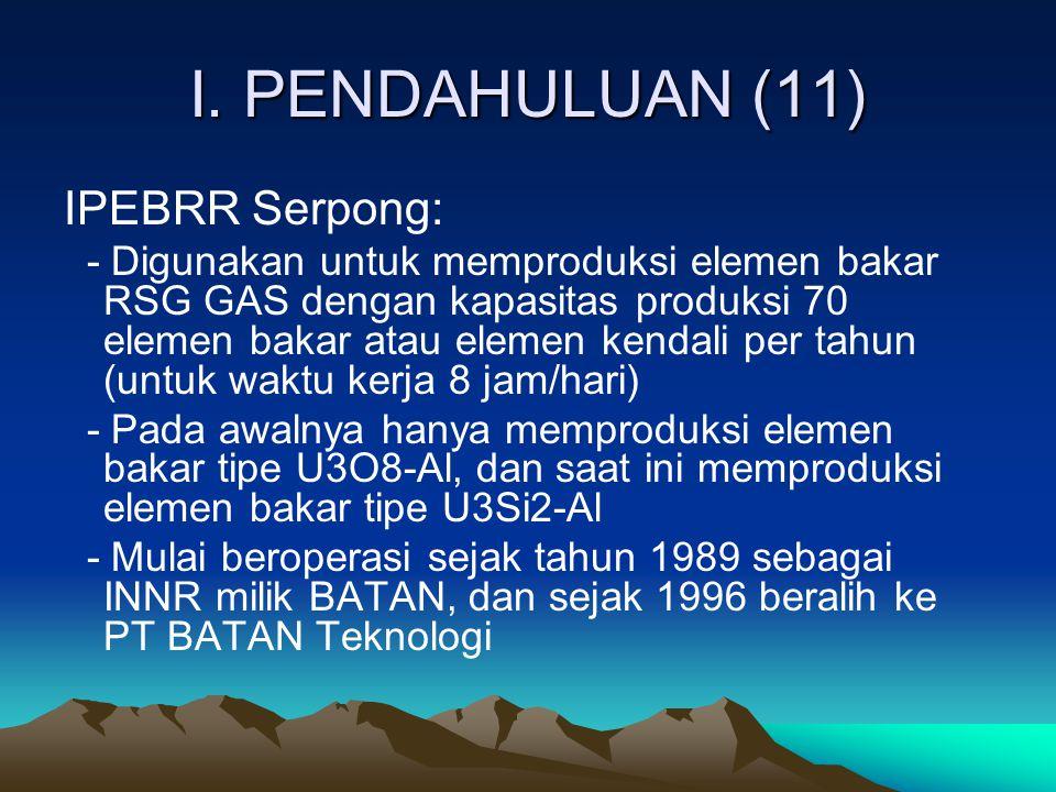 I. PENDAHULUAN (11) IPEBRR Serpong: - Digunakan untuk memproduksi elemen bakar RSG GAS dengan kapasitas produksi 70 elemen bakar atau elemen kendali p