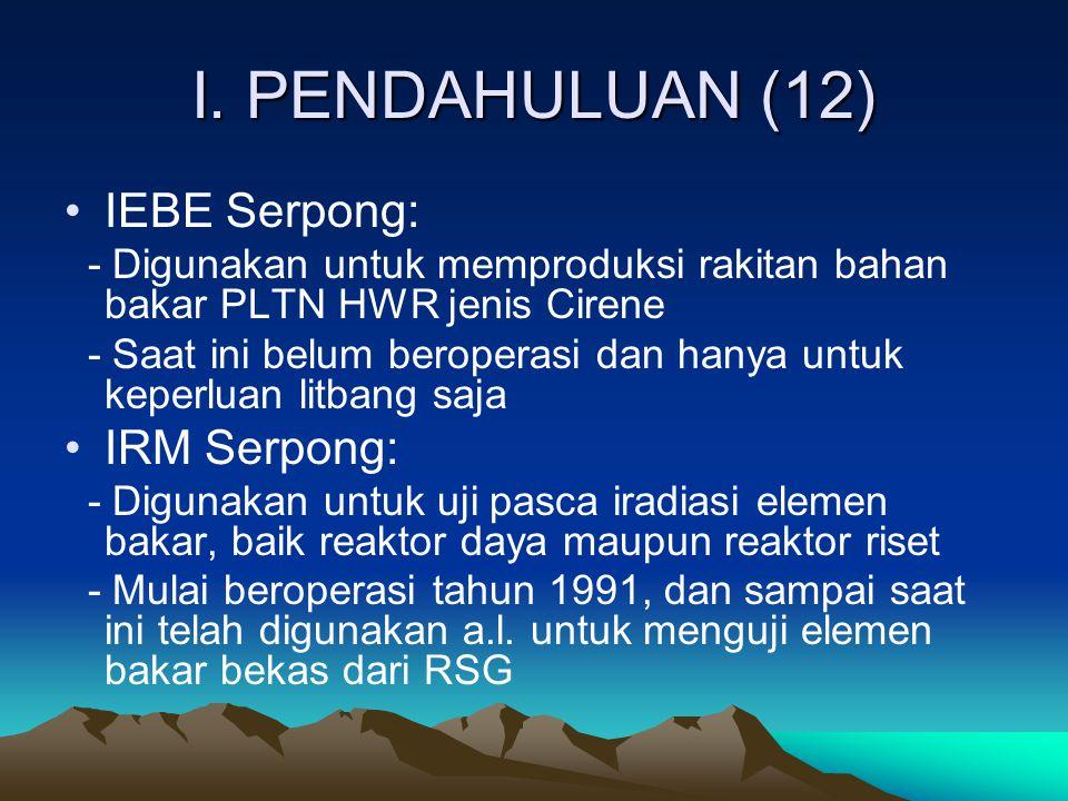 I. PENDAHULUAN (12) IEBE Serpong: - Digunakan untuk memproduksi rakitan bahan bakar PLTN HWR jenis Cirene - Saat ini belum beroperasi dan hanya untuk
