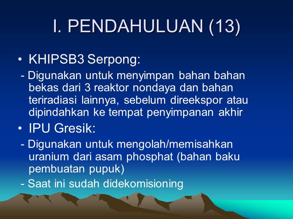 I. PENDAHULUAN (13) KHIPSB3 Serpong: - Digunakan untuk menyimpan bahan bahan bekas dari 3 reaktor nondaya dan bahan teriradiasi lainnya, sebelum diree