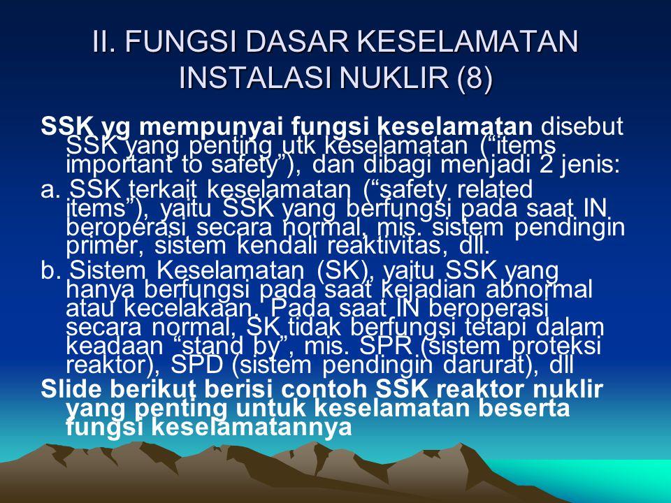 """II. FUNGSI DASAR KESELAMATAN INSTALASI NUKLIR (8) SSK yg mempunyai fungsi keselamatan disebut SSK yang penting utk keselamatan (""""items important to sa"""