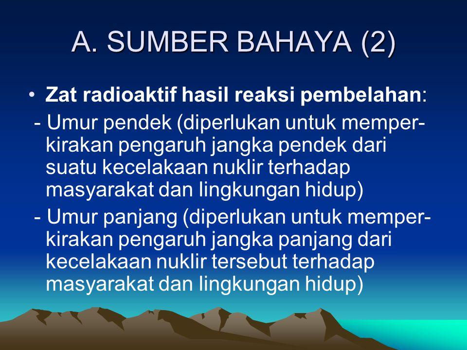 A. SUMBER BAHAYA (2) Zat radioaktif hasil reaksi pembelahan: - Umur pendek (diperlukan untuk memper- kirakan pengaruh jangka pendek dari suatu kecelak