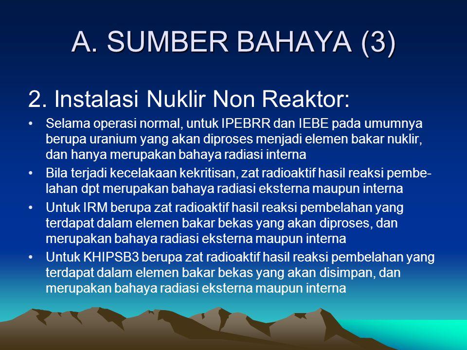 A. SUMBER BAHAYA (3) 2. Instalasi Nuklir Non Reaktor: Selama operasi normal, untuk IPEBRR dan IEBE pada umumnya berupa uranium yang akan diproses menj