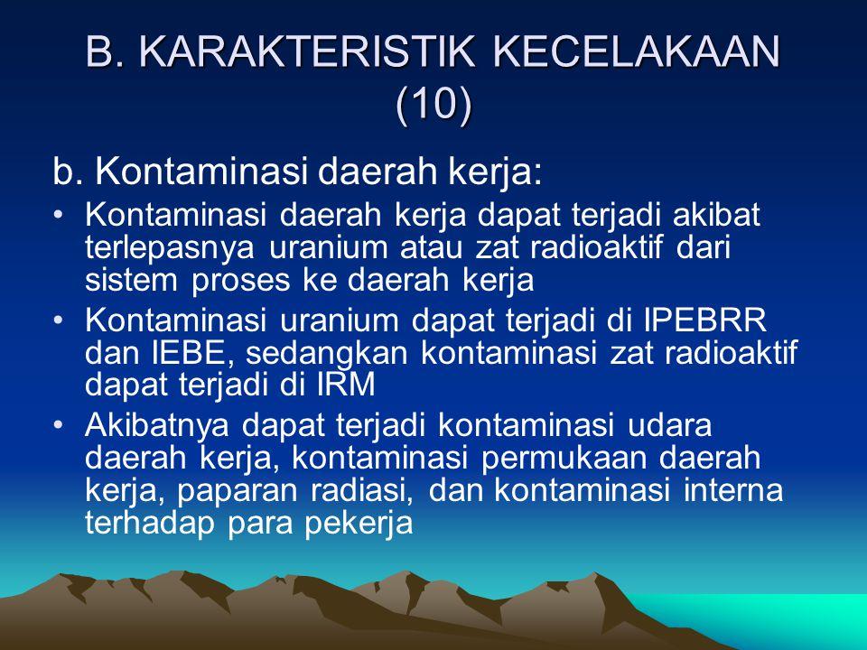 B. KARAKTERISTIK KECELAKAAN (10) b. Kontaminasi daerah kerja: Kontaminasi daerah kerja dapat terjadi akibat terlepasnya uranium atau zat radioaktif da