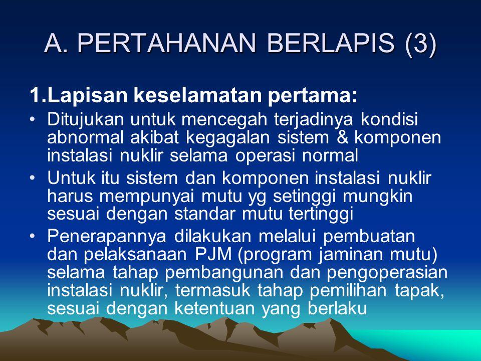 A. PERTAHANAN BERLAPIS (3) 1.Lapisan keselamatan pertama: Ditujukan untuk mencegah terjadinya kondisi abnormal akibat kegagalan sistem & komponen inst