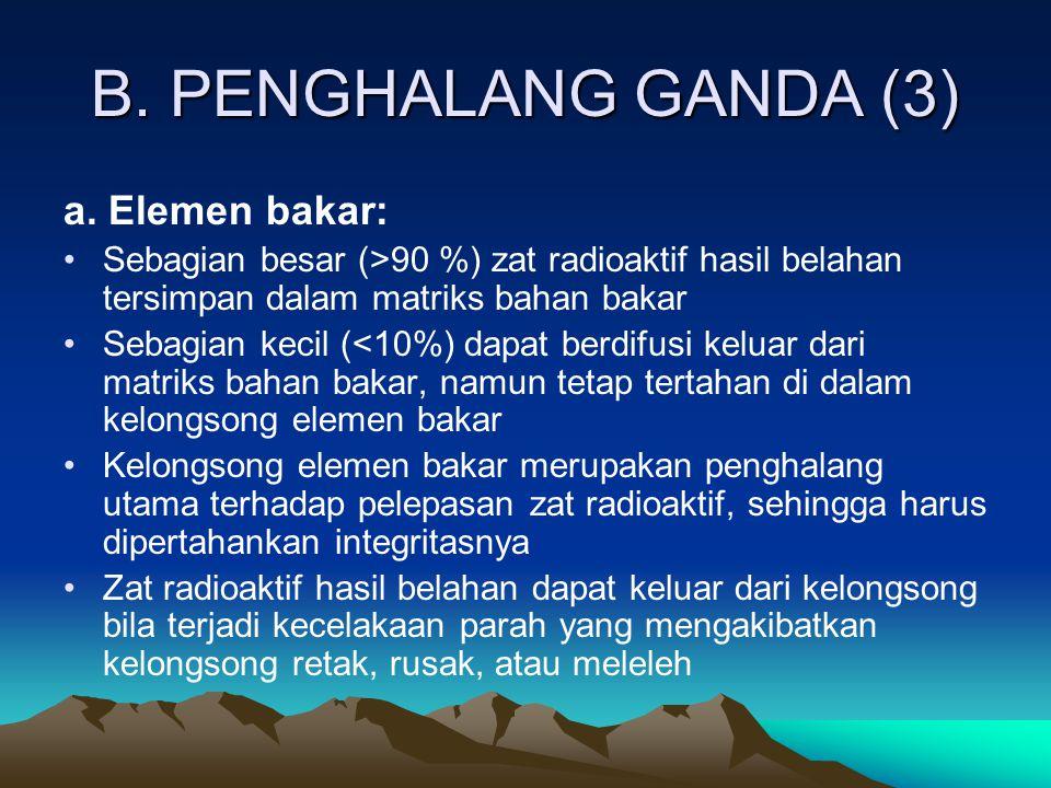 B. PENGHALANG GANDA (3) a. Elemen bakar: Sebagian besar (>90 %) zat radioaktif hasil belahan tersimpan dalam matriks bahan bakar Sebagian kecil (<10%)